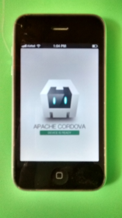 Cordova sample app running in iPhone