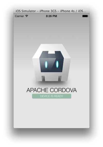 Cordova sample app in iOS emulator