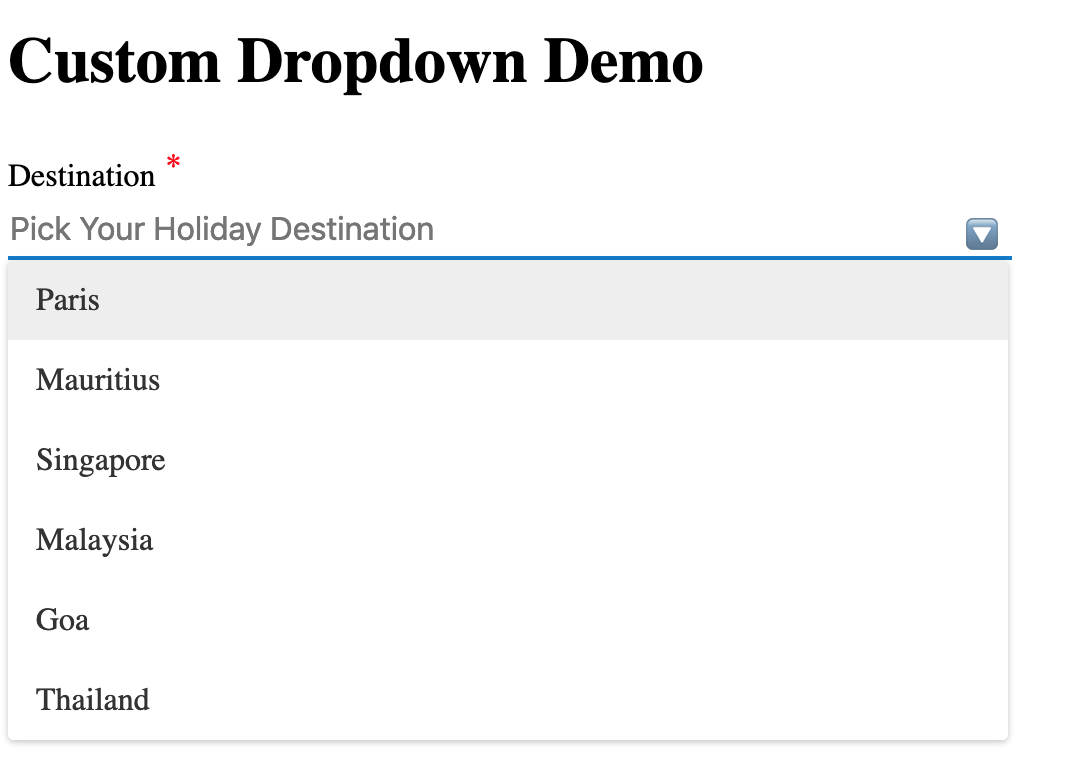 How to create a custom dropdown using Angular CDK