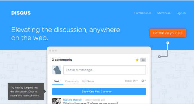 Disqus home page